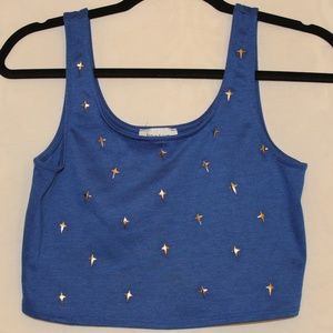 Poetry Blue Crop Top With Cross Embellishments